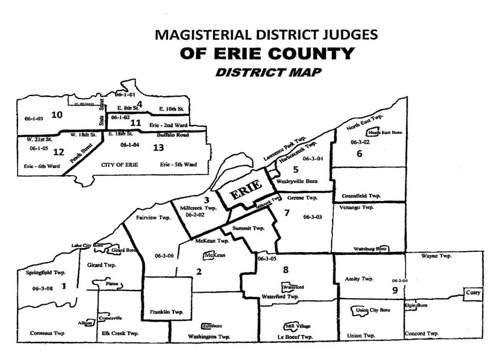 Map showing Erie County's Magisterial Districts