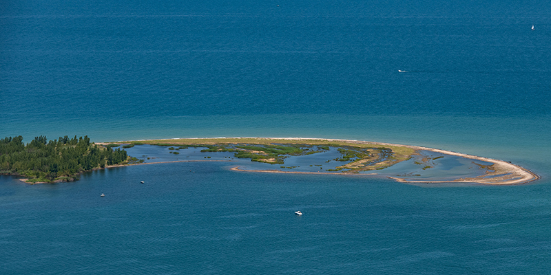 Aerial view of Gull Point on Presque Isle State Park