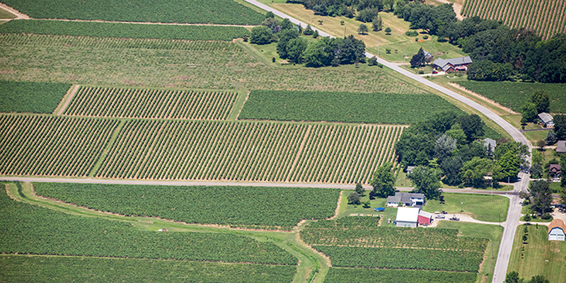 Aerial view of agricultural land in Erie County