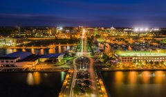 Erie's downtown bayfront at night