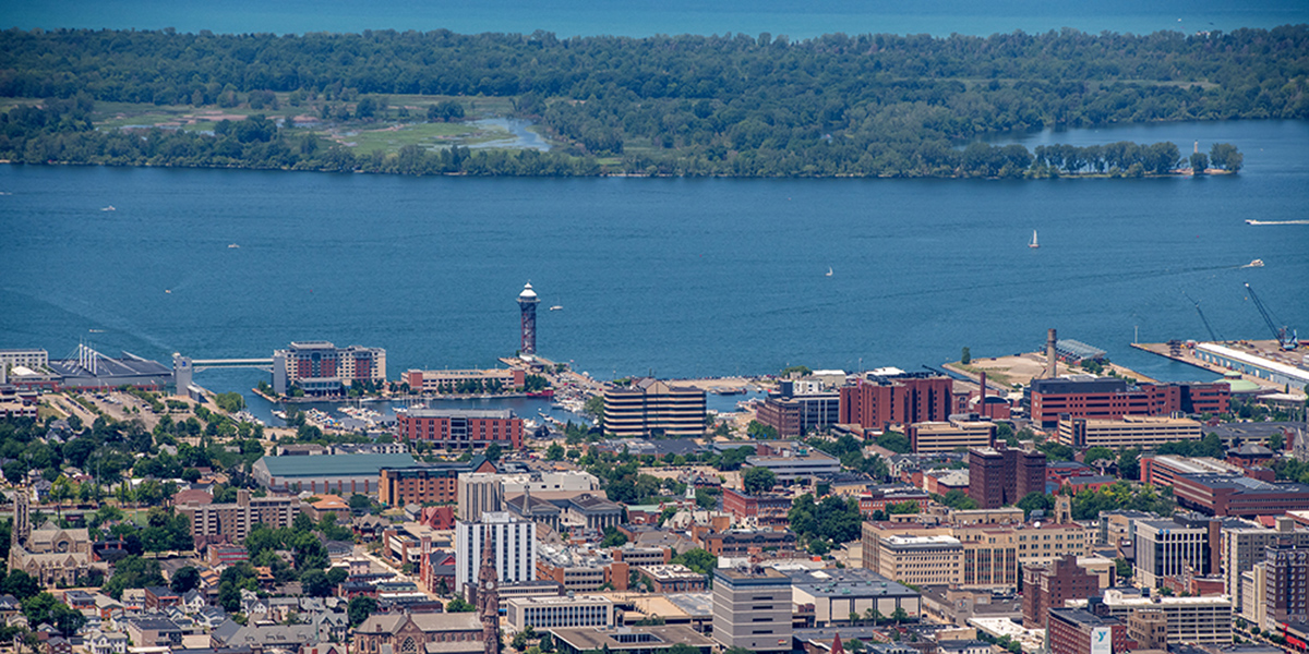 Aerial view of downtown Erie and the bayfront