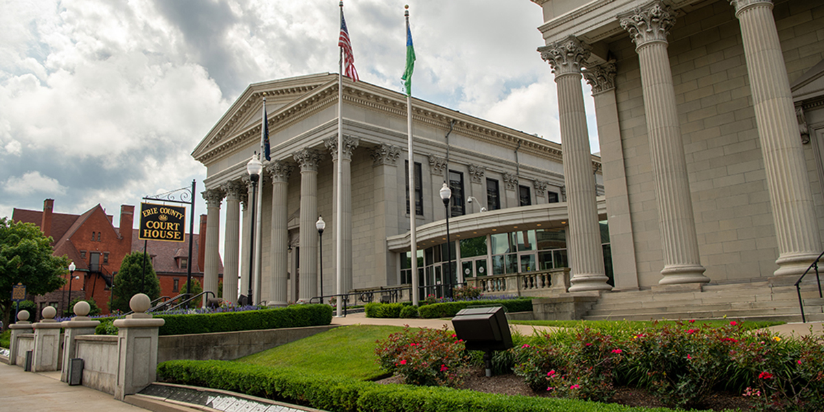 The exterior of the Erie County Courthouse