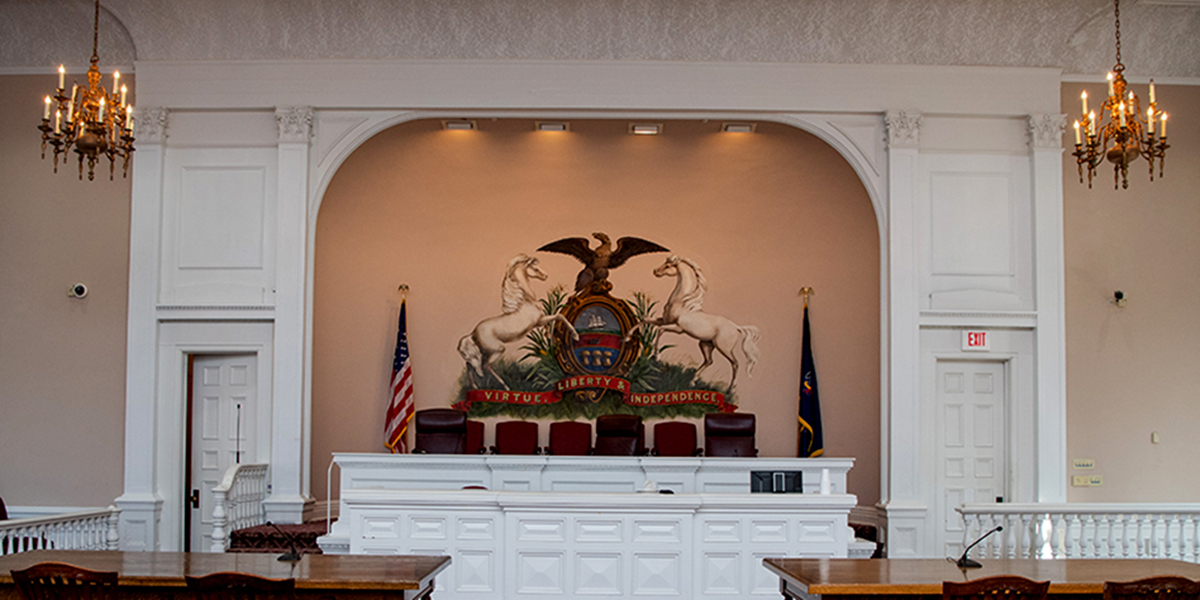 Courtroom H at the Erie County Courthouse