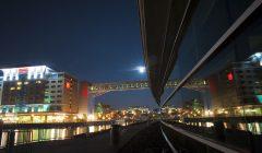 Erie's Bayfront at night